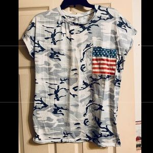 Camo scoop neck tee with American flag pocket USA